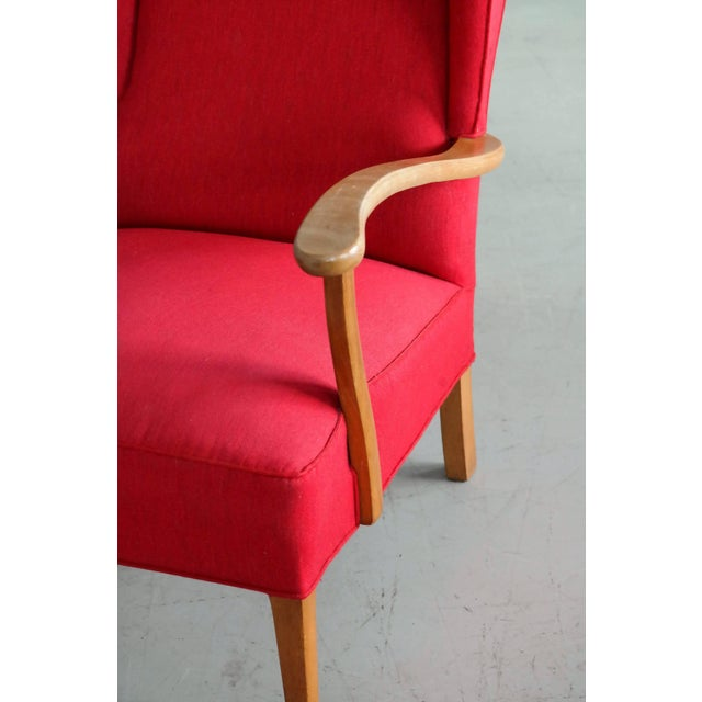 Beech Danish Midcentury Wingback Lounge Chair Attributed to Fritz Hansen For Sale - Image 7 of 9