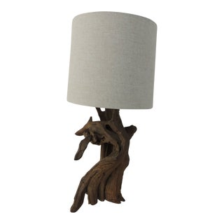 Vintage Cypress Tree Branch Table Lamp With Natural Linen Shade For Sale