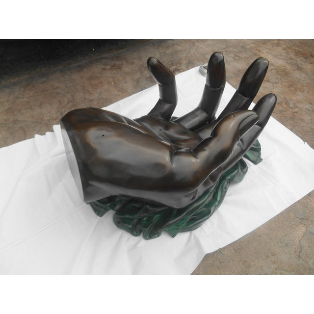 """Late 20th Century Stunning Leonardo Rossi Bronze XL """"Hand"""" Sculpture Coffee Table For Sale - Image 5 of 13"""
