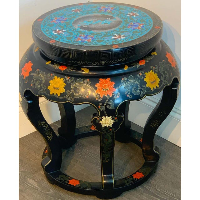 Chinese Chinese Export Black Lacquer and Cloisonné Koi Motif Table For Sale - Image 3 of 13