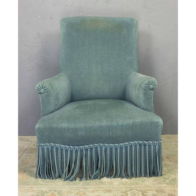 19th Century French Faded Blue Velvet Armchair - Image 2 of 11