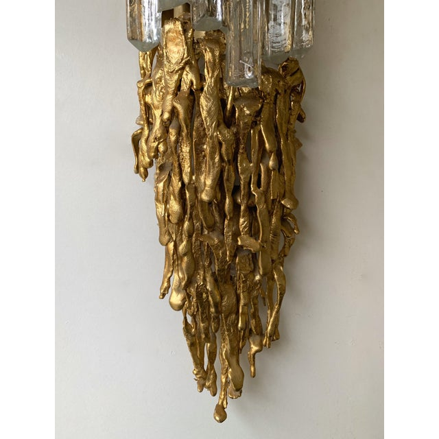 Gold Pair of Bronze Murano Glass Sconces by Claude Victor Boeltz, France, 1970s For Sale - Image 8 of 13
