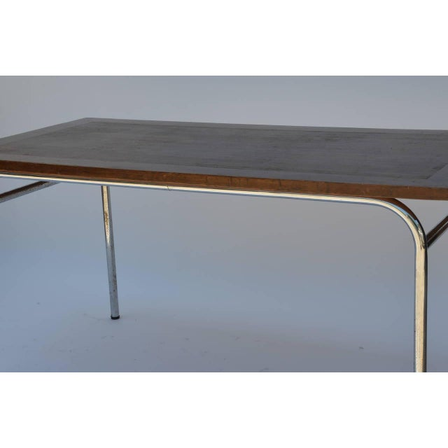 1930s Set of Four French Modernist Rectangular Chrome and Mahogany Tables For Sale - Image 5 of 7