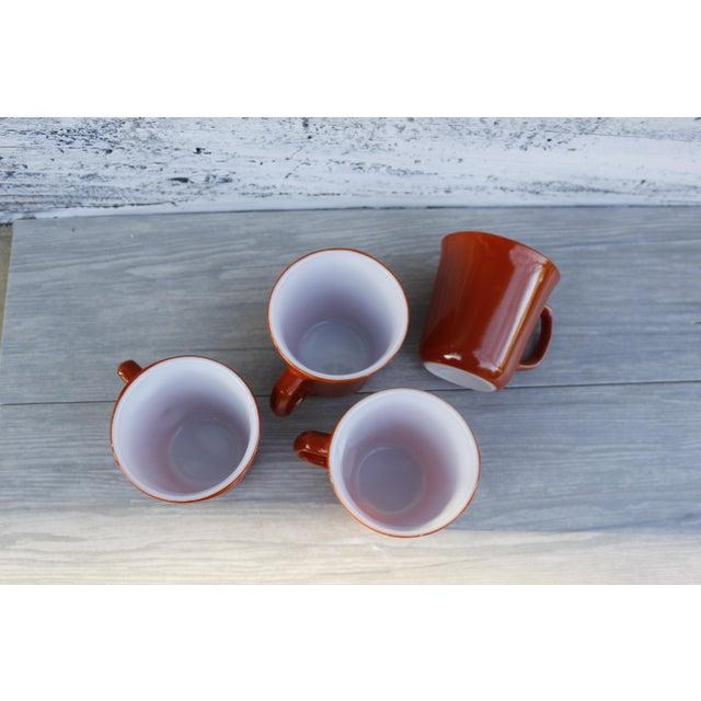Glass Vintage Corningware Rust Orange Milk Glass Cups - Set of 4 For Sale - Image 7 of 9