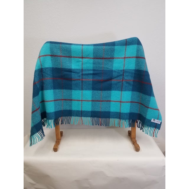Wool Throw Blue, Aqua and Red in Different Sized Stripes - Made in England For Sale - Image 4 of 11