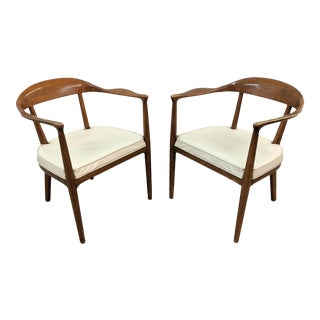 1960s Mid Century Modern Sculptural Walnut Arm Chairs - Set of 2 For Sale