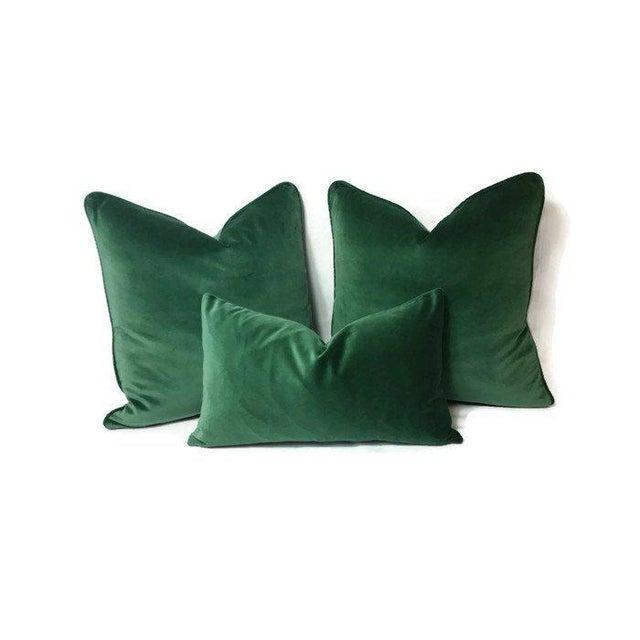 Not Yet Made - Made To Order Kravet Versailles Velvet Emerald Green Lumbar Pillow Cover For Sale - Image 5 of 6
