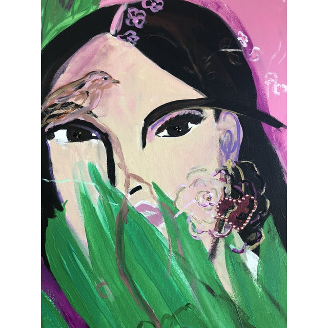 "An original modern painting by JJ Justice. Acrylic, Swarovski crystals and resin on canvas. Title -""Chi-Chi"" Pink green,..."