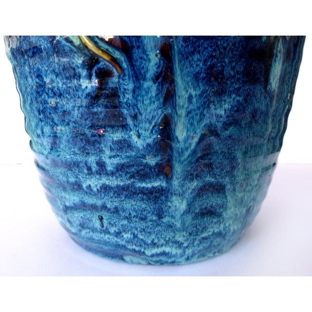 Blue Glazed Majolica Pottery Grapes & Frogs Motif Vase For Sale - Image 8 of 9