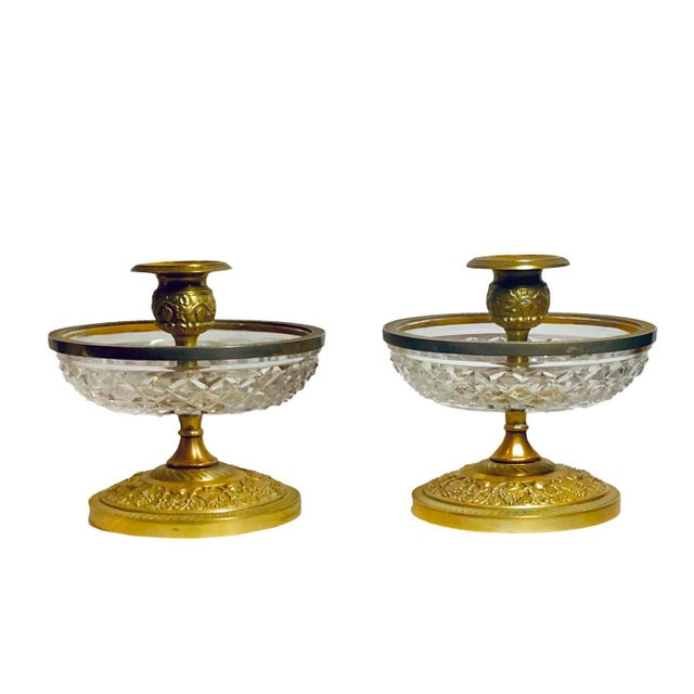 1940s Baccarat Dore Bronze Candleholders- a Pair For Sale In Tampa - Image 6 of 6