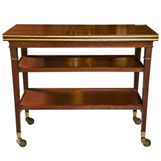 Maison Jansen French Directoire Mahogany Tea Cart For Sale