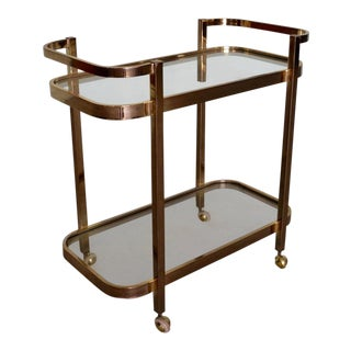 1960s Mid-Century Modern Milo Baughman Brass Bar Cart For Sale