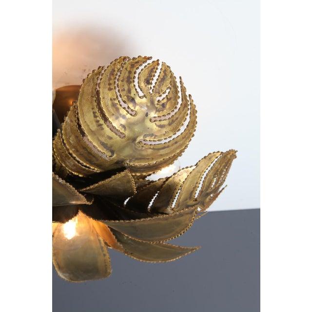 Metal Maison Jansen Regency Brass Palm Chandelier For Sale - Image 7 of 9