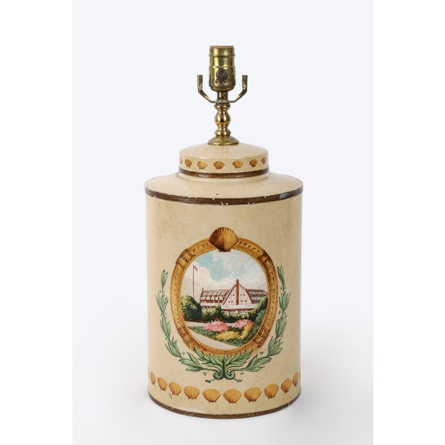 Hand Painted Hotel Landscape Design Tea Caddy Lamp For Sale - Image 10 of 10