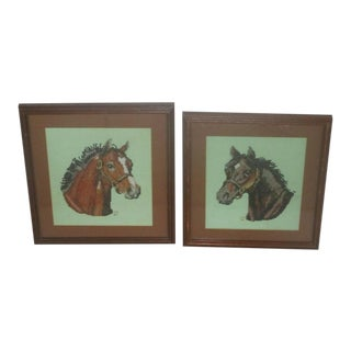 Vintage Petit Pointe Embroideries of Horses - a Pair For Sale