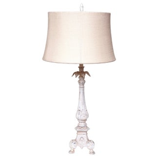Candlestick Lamp With Bleached Burlap Shade For Sale