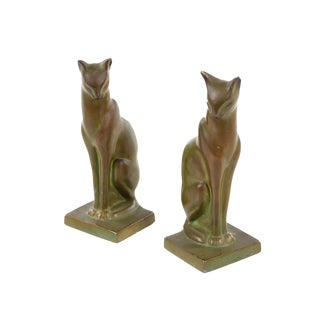 Art Deco Egyptian Cats 1920s Vintage Bronze Bookends - A Pair
