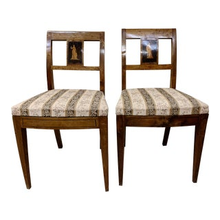 Early 19th Century Antique Biedermeier Walnut Chairs- A Pair For Sale