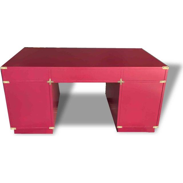1970s 1970s Campaign Partner Desk By Bernhardt For Sale - Image 5 of 10