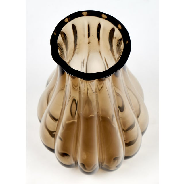 Large Murano Smoked Glass Vase For Sale - Image 4 of 10