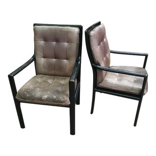1980s Leather and Ebonized Open Armchairs by Lübke - a Pair For Sale