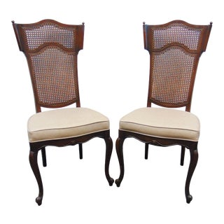 Louis XV Style Fruitwood Cane Back Side Chairs - a Pair For Sale