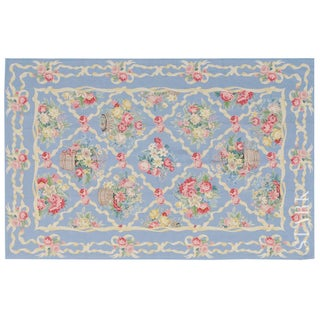 """Stark Studio Rugs Traditional Chinese Needlepoint Wool Rug - 6'2"""" X 9'4"""" For Sale"""