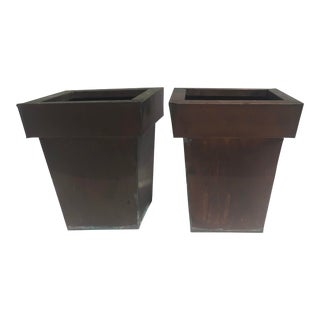 Mid-Century Modern Solid Copper Pots Planters - a Pair For Sale