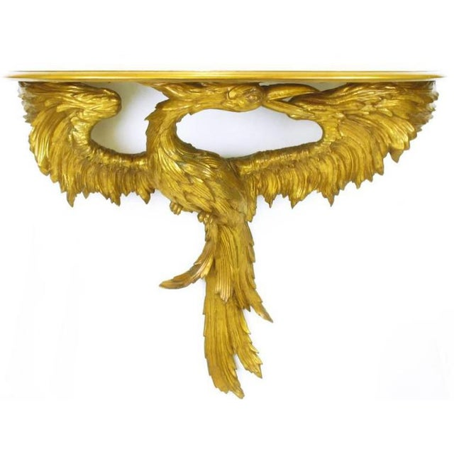 Italian Early 20th Century Italian Giltwood Phoenix Wall Mounted Console and Mirror For Sale - Image 3 of 11