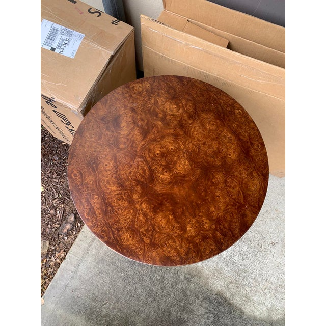 Vintage Mid Century American Brass & Burled Wood Pedestal Table W/ Glass Top For Sale In Atlanta - Image 6 of 12