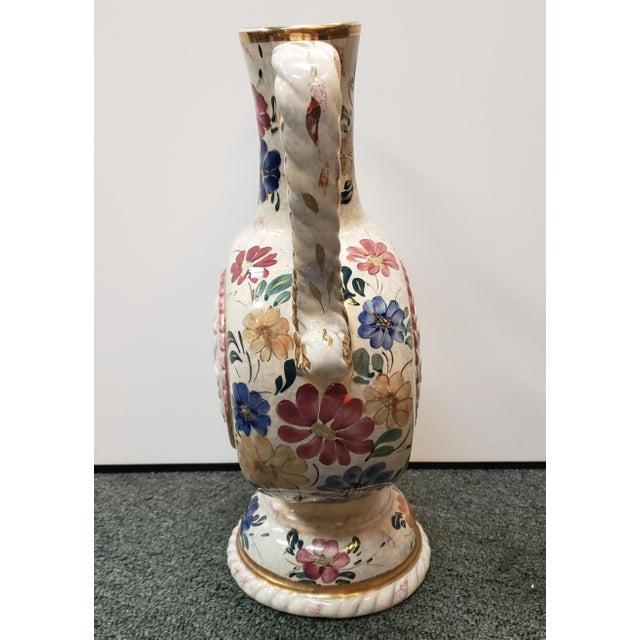 Circa 1920 Belgian Art Deco Ceramic Gilded Floral Motifs Ewer For Sale - Image 4 of 7