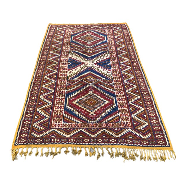 1950s Vintage Moroccan Hand Knotted Rug- 5′ × 8′6″ For Sale