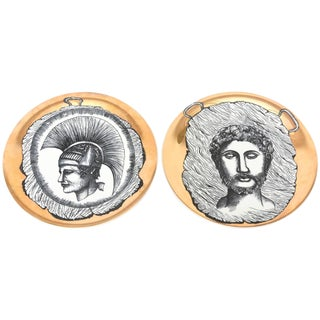 1960s Vintage Italian Fornasetti Style Bucciarelli Porcelain Plates- a Pair Final Markdown For Sale