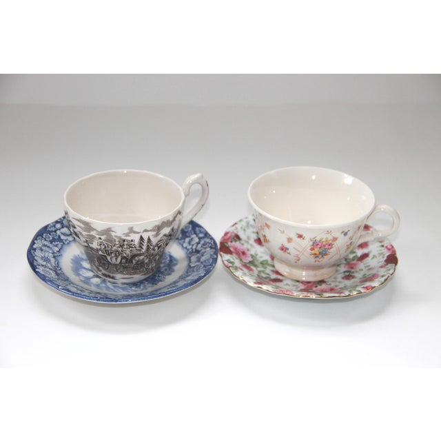 Asian Mismatched Vintage Transferware Cups & Saucers - S/4 For Sale - Image 3 of 4