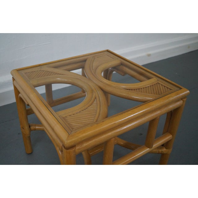 McGuire Rattan Bamboo Square Glass Top Low Tables - Pair For Sale - Image 4 of 9