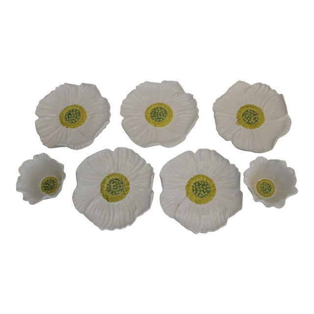 Vintage White Ceramic Daisy Bowls and Saucers - 7 Piece Set For Sale