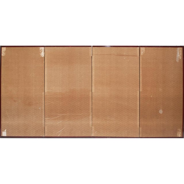 Early 20th Century Japanese Four Panel Byobu Screen For Sale - Image 11 of 13