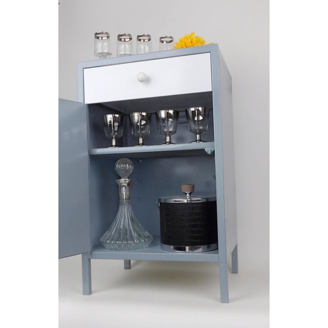 Metal Gray White Shelf Bar Cabinet Wine Barware Storage Coffee Station For Sale - Image 7 of 11