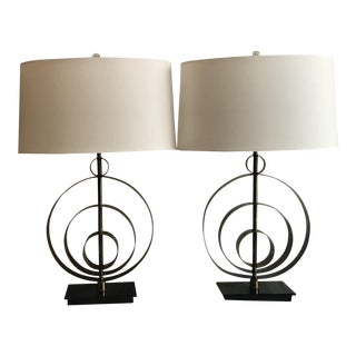 Abstract Arteriors Home Hammered Brass Raleigh Lamps - a Pair