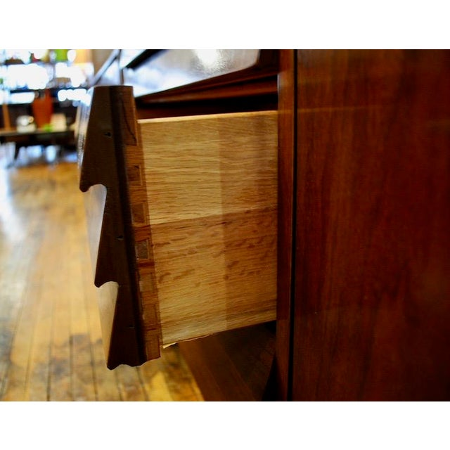 Brass Mid Century Modern American of Martinsville Walnut Credenza For Sale - Image 7 of 8