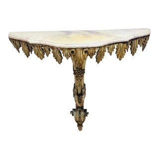 19th Century French Wooden Console With Gold Base For Sale