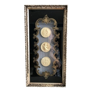 Hollywood Regency Shadow Box with Three Classical Cartouches For Sale
