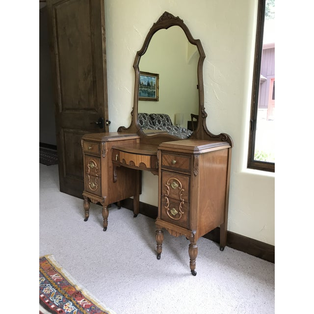 Traditional Antique Mirrored Dressing Table With Burled and Zebra Woods For Sale - Image 3 of 9