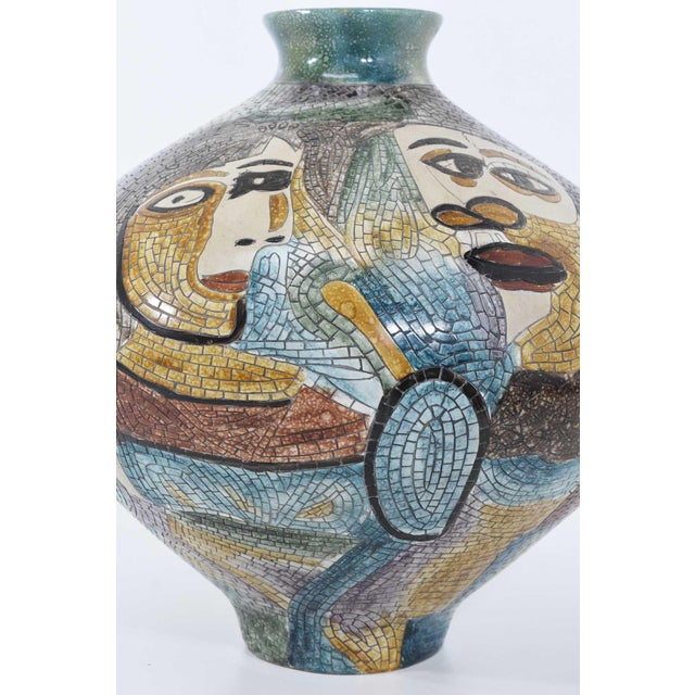 Large Pablo Picasso Mosaic Ceramic Vase For Sale - Image 10 of 11