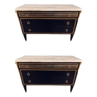 Pair of Ebony Hollywood Regency Jansen Style Greek Key Marble-Top Commodes For Sale
