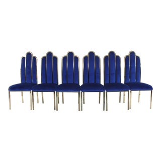 Electric Blue Art Deco Dining Chairs - Set of 6 For Sale