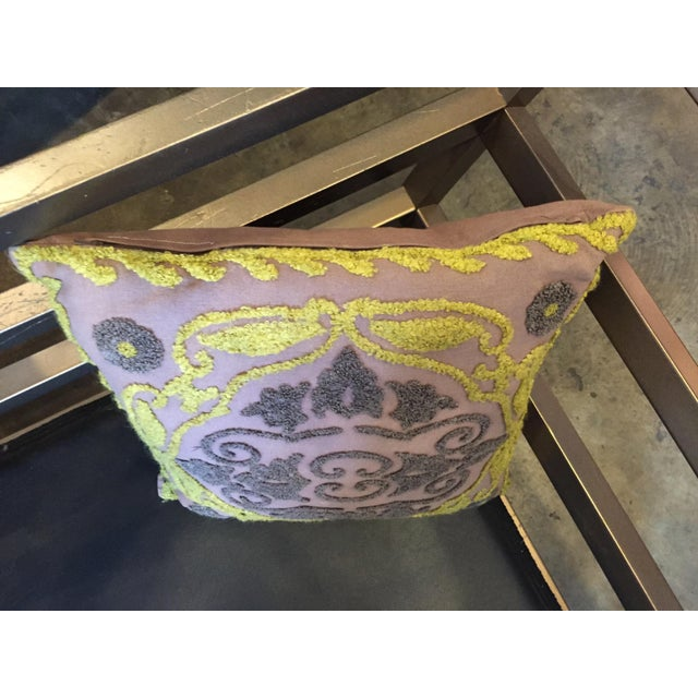 Boho Chic 1940s Vintage Chenille Embroidered Pillow For Sale - Image 3 of 6