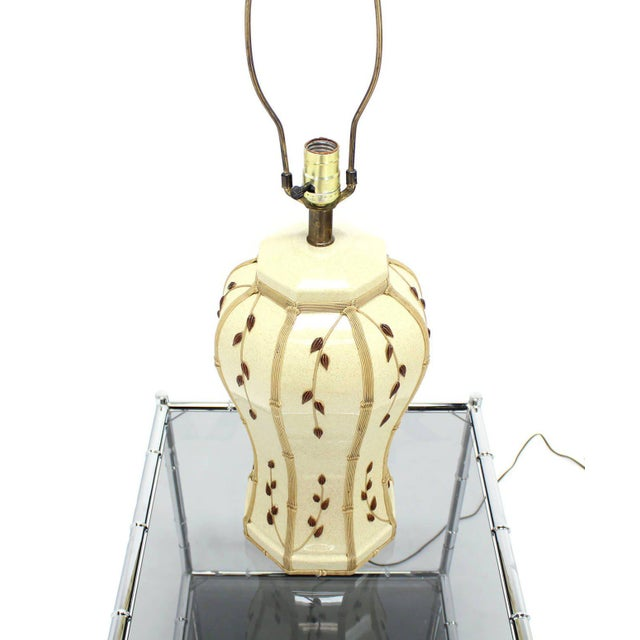 Faux Bamboo Motive Art Decorated Mid-Century Modern Lamp For Sale In New York - Image 6 of 7