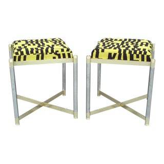 Pair of Brass With Steel Upholstered Stools by the Weiman Co For Sale