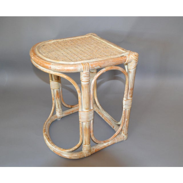 Vintage Bamboo & Cane White Washed Side Table, End Table. The table is woven with pencil reed and has a caned top. Great...